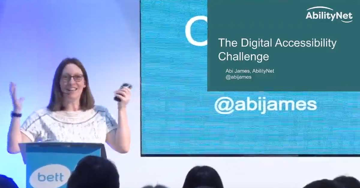 Abi James speaking onstage at BETT conference 2020