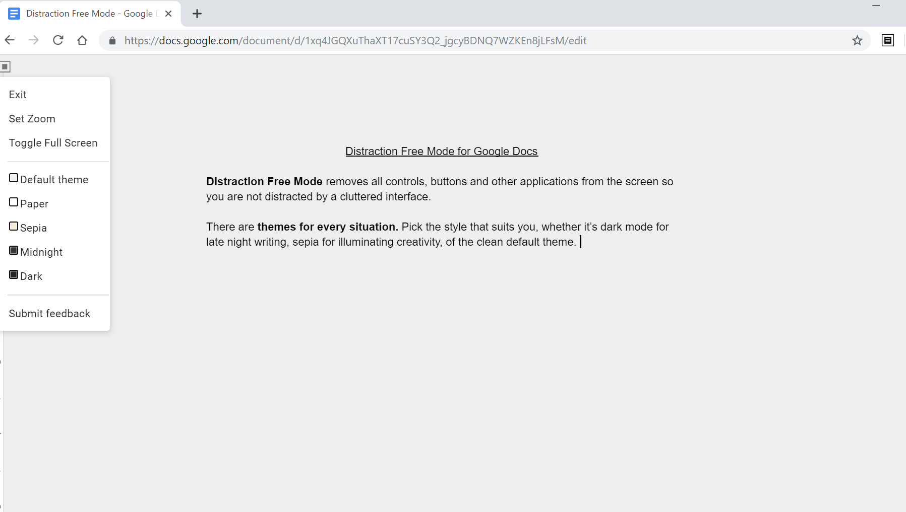 Screen grab of Google docs distraction free mode