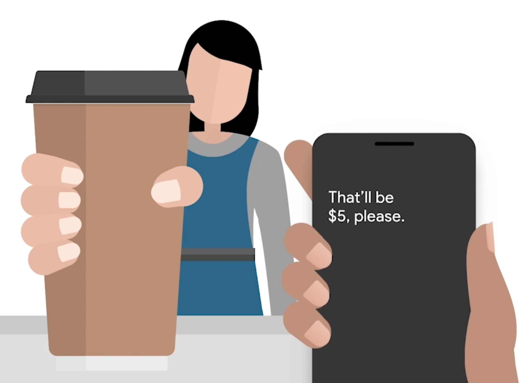 Cartoon image of a person using Live Transcribe to buy a coffee