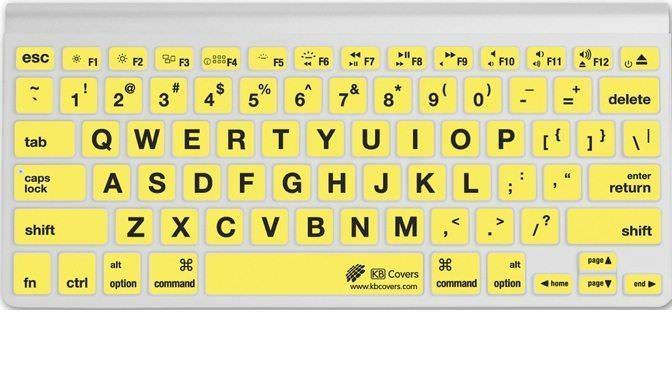 A keyboard with large print keys