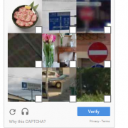 Example of an image Captcha, asking to select the squares with road signs in them