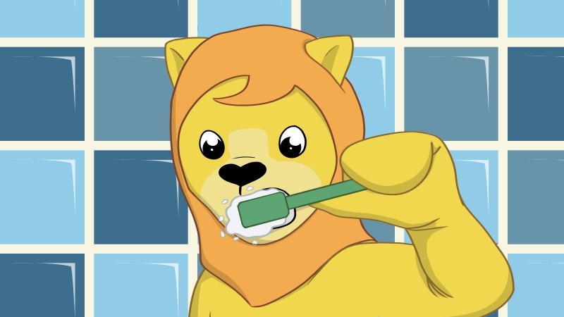 cartoon lion brushing teeth