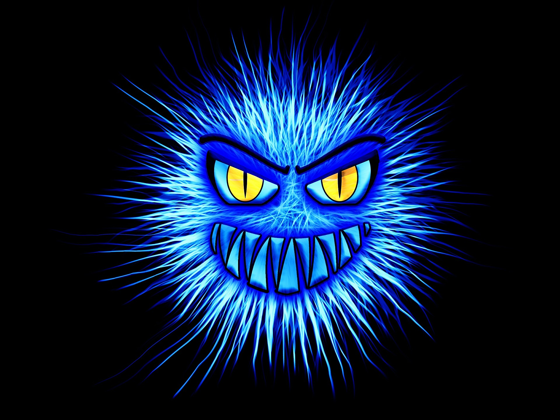 Caricature of a computer virus. It is blue and spiky and has yellow eyes with a grimace