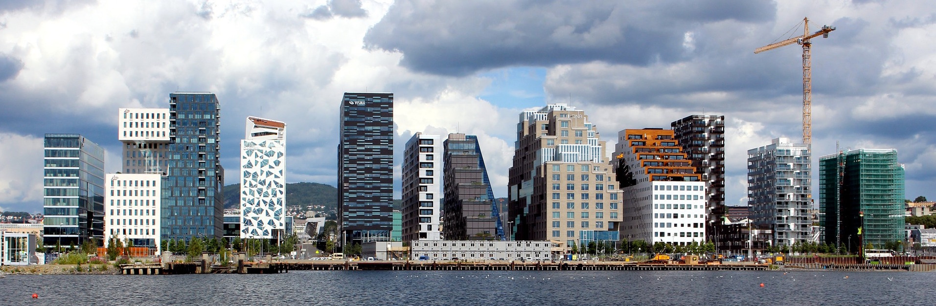 Oslo, Norway skyline with tower blocks on the water front