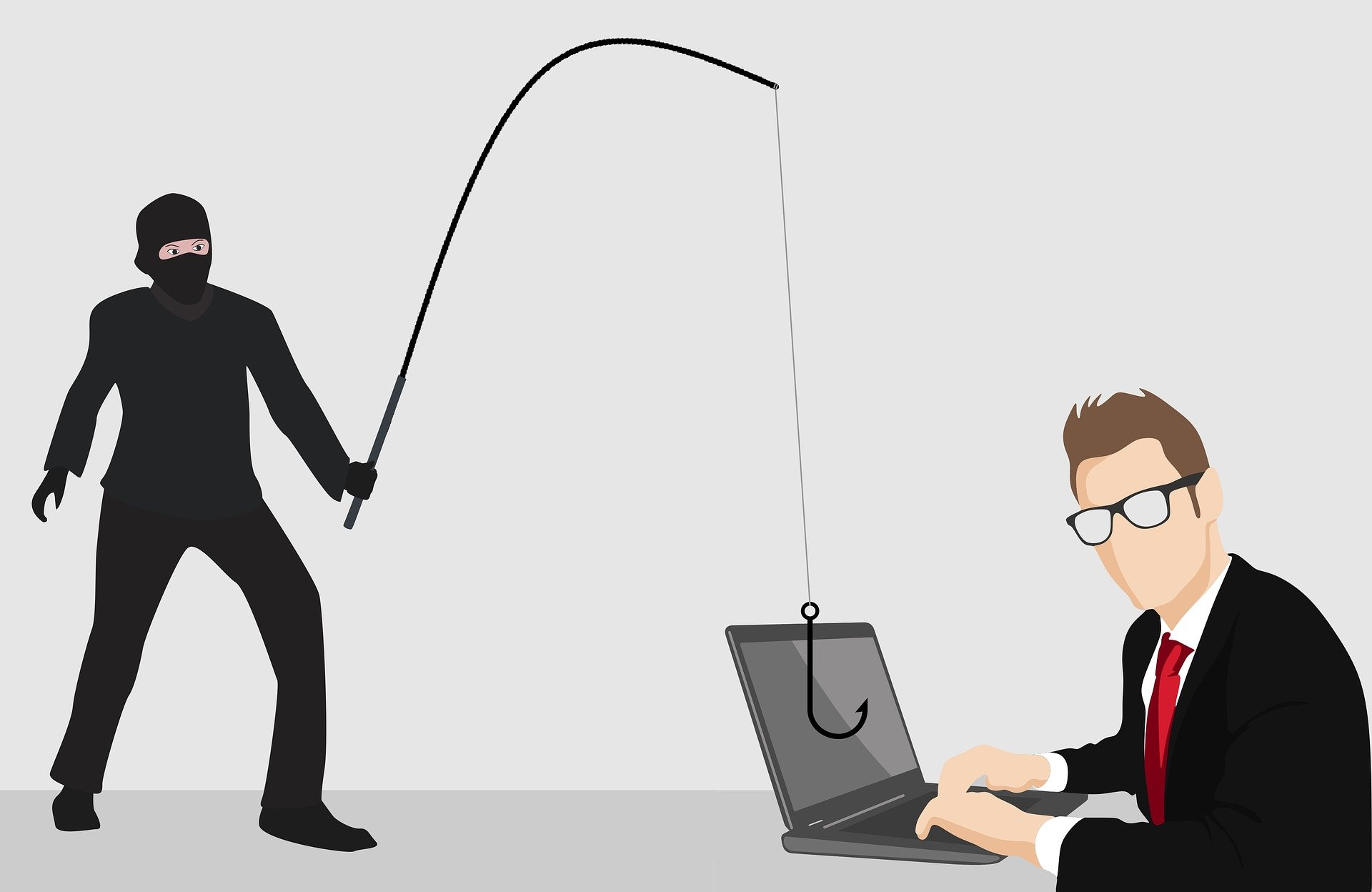 Image shows someone in black with a fishing line. The end of the line is draped over a computer where a man sits dressed in a suit. It is an illustration.
