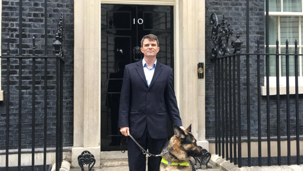Robin Christopherson outside Number 10 after another digital discussion