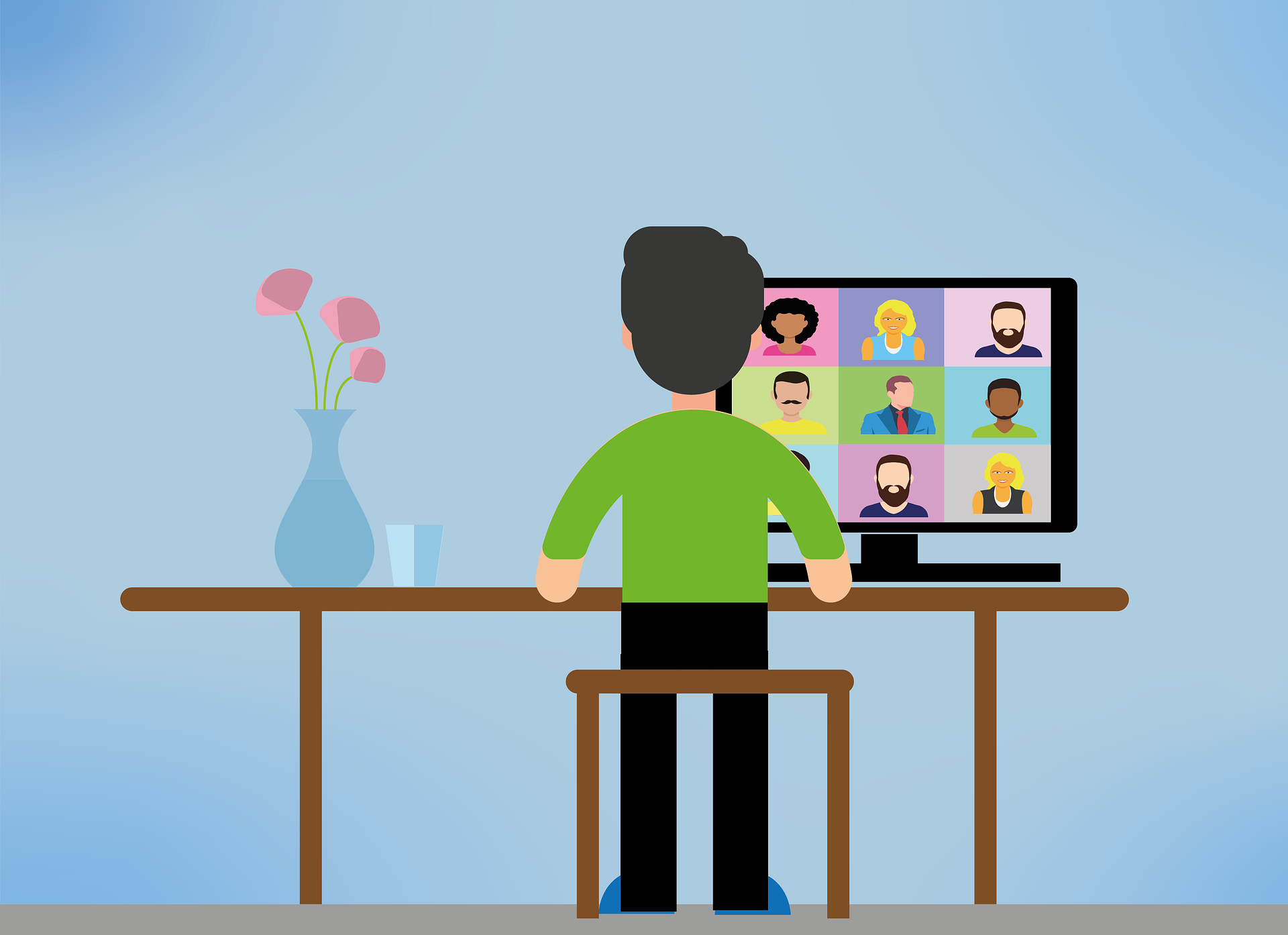Illustration shows a man standing at a desk there is a video conference represented on his screen