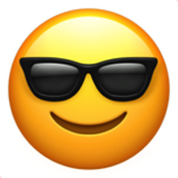 Smiling face yellow emoji with dark sunglasses