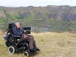 STepehen Hawking on the edge of a volcano