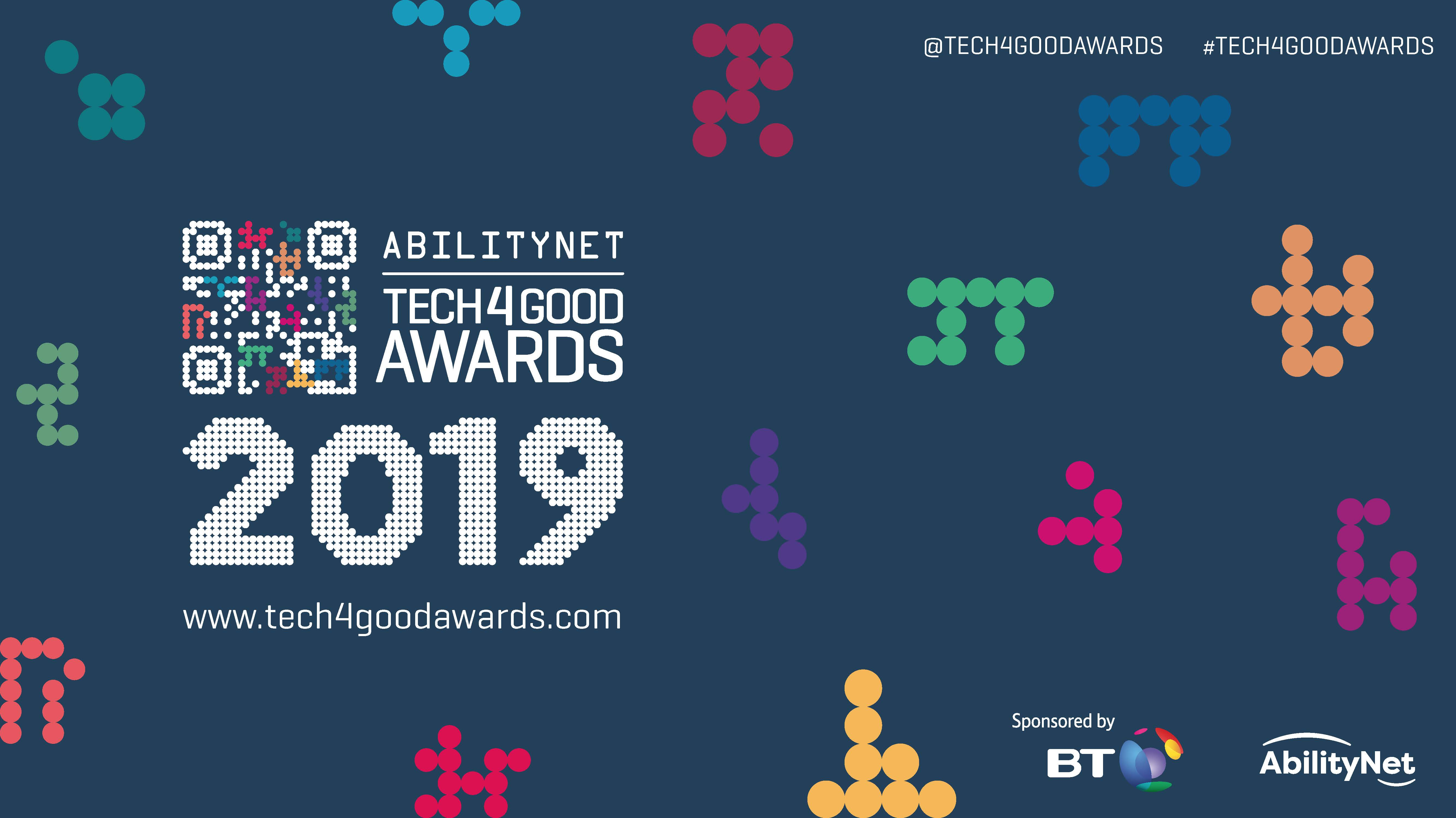 AbilityNet Tech4Good Awards 2019 logo with blue background