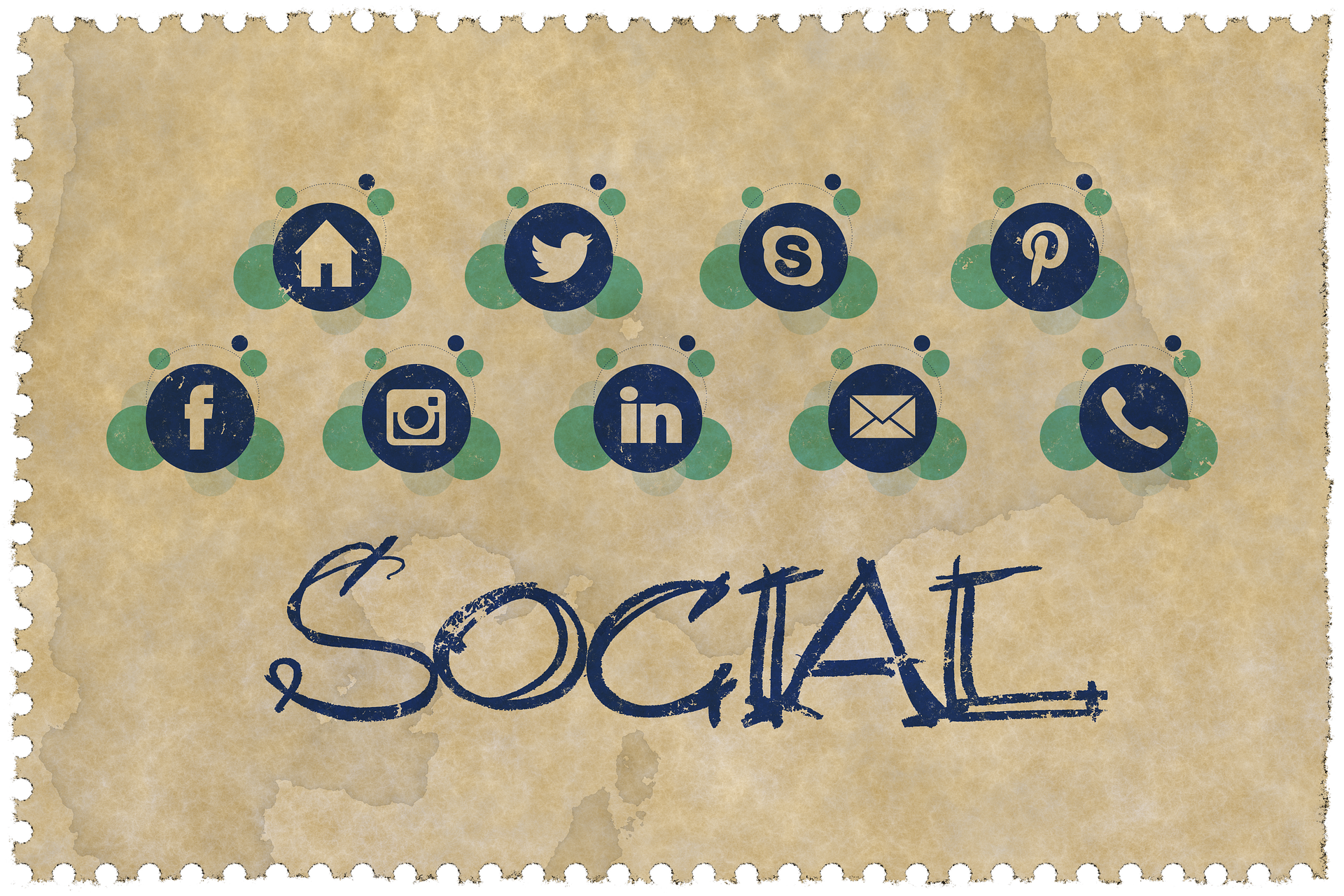 Image has the word social and a variety of social media logos displayed