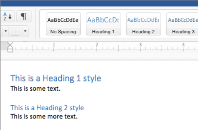 Word heading styles in the Styles Pane applied to text