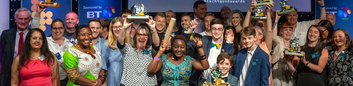 The Tech4Good Awards winners alongside judges and presenters