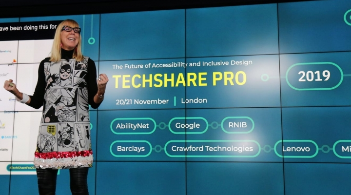 Caroline Casey on stage at TechShare Pro 2019