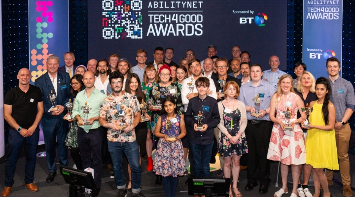 Group shot of the 2019 Tech4Good Awards Winners and Sponsors on stage at BT Centre