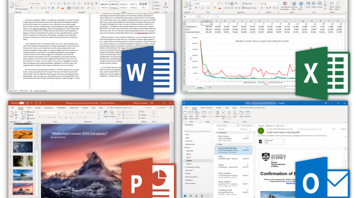 Screen shots of Microsoft Word, Excel, Powerpoint and Outlook with their logos