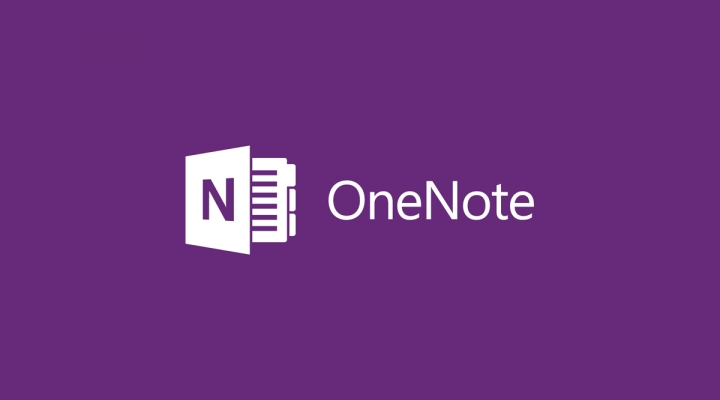 Purple background with Microsoft OneNote logo and text