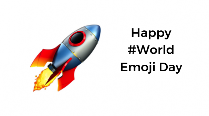 Rocket emoji with Happy #World Emoji Day strapline