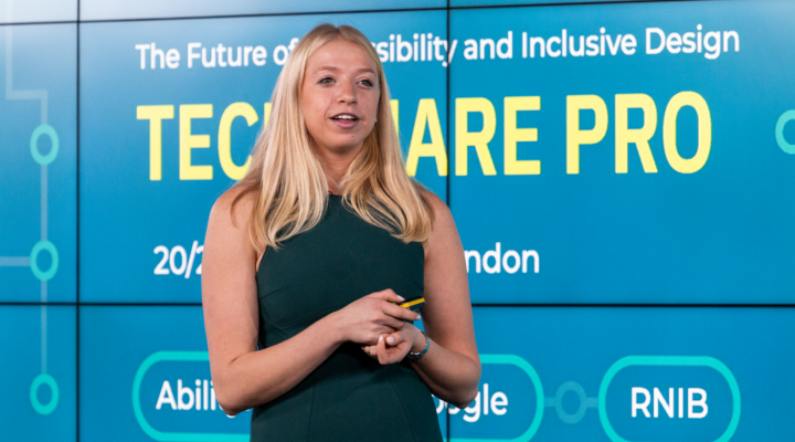 Colour photo of Sam Soloway presenting on the stage at TechShare Pro 2019