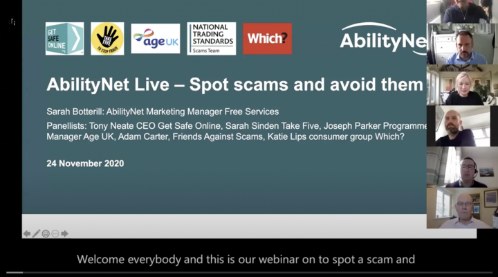 Image shows the opening slide for the scams webinar with panelists arranged on the right