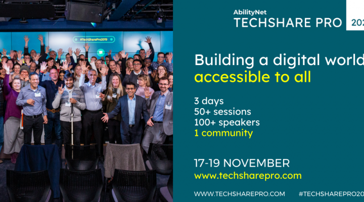 Building a digital world accessible to all. 3 days, 50+ sessions, 100+ contributors , 1 community! #TechSharePro2020 17-19 November Tickets on sale https://abilitynet.org.uk/techsharepro