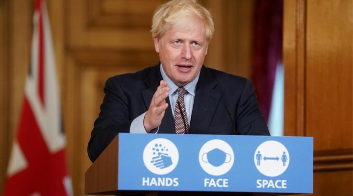 Image of Boris Johnson speaking at lectern