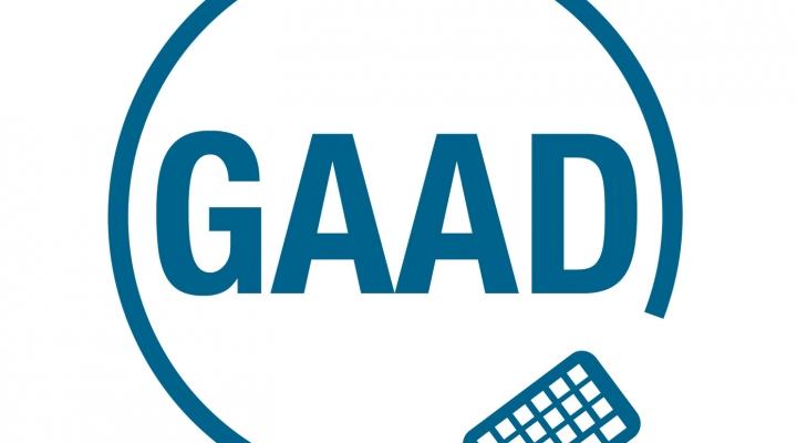 GAAD logo blue circle with keyboard