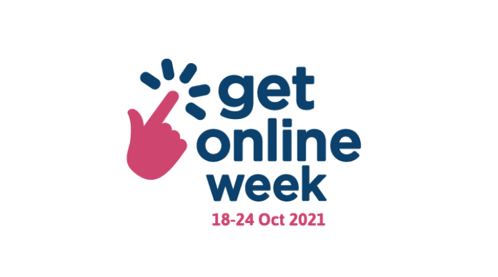 Get online logo showing finger pointing on a screen