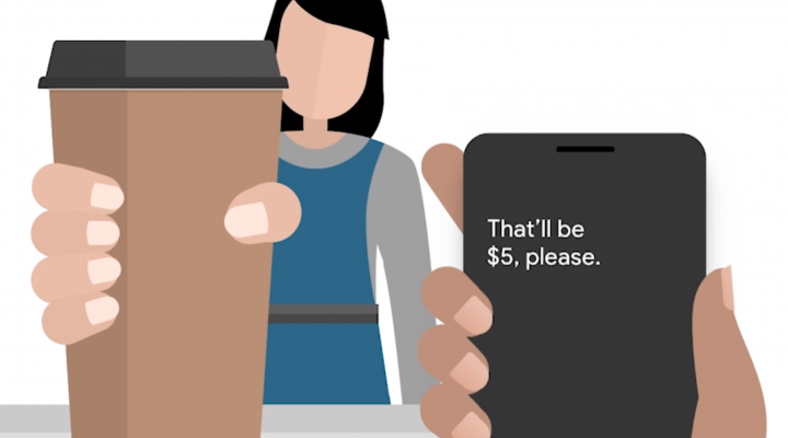 cartoon image of someone buying a coffee using live transcribe
