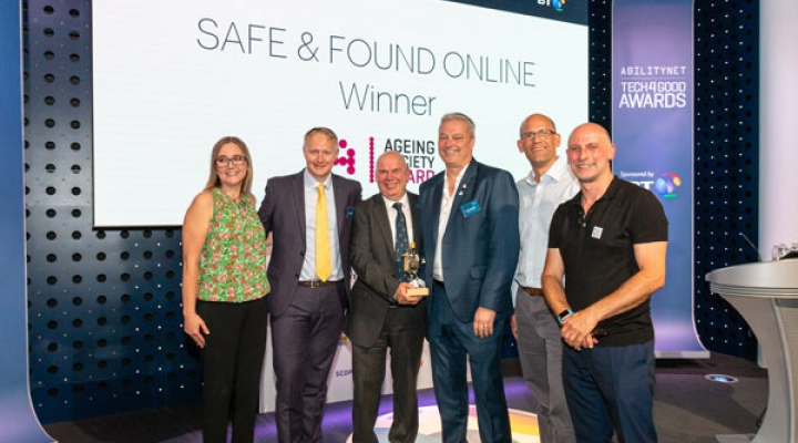 Safe & Found Online team win the Ageing Society Award at the Tech4Good Awards 2019